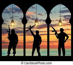 silhouette, van, drie, terroristen
