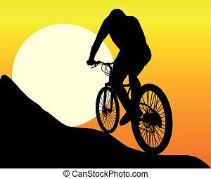 silhouette, van, een, berg fietser