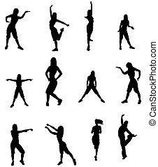 silhouette, van, een, danser, vrouw
