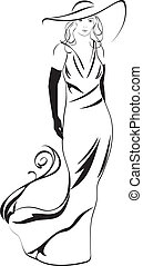 silhouette, van, een, elegant, vrouw