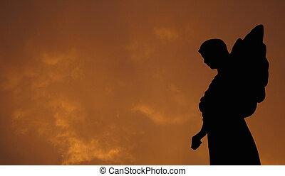 silhouette, van, een, engel