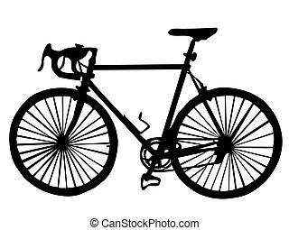 silhouette, van, een, fiets