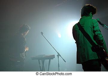 silhouette, van, een, het zingen