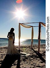 silhouette, van, een, jonge, bruid