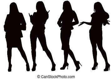 silhouette, van, een, jonge vrouw