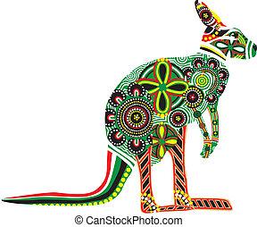 silhouette, van, een, kangoeroe, met, austr