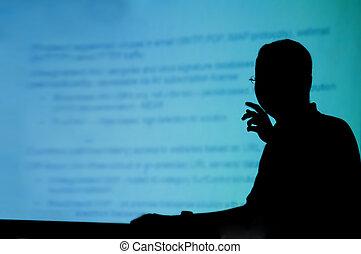 silhouette, van, een, man, doen, presentatie