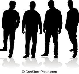 silhouette, van, een, man