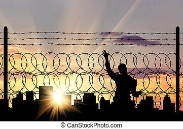 silhouette, van, een, man, vluchteling