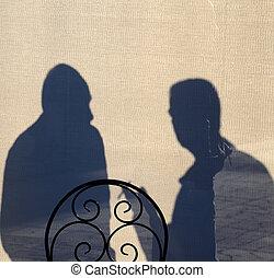 silhouette, van, een, mannen, in, discussie