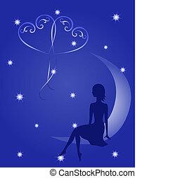 silhouette, van, een, meisje, verliefd