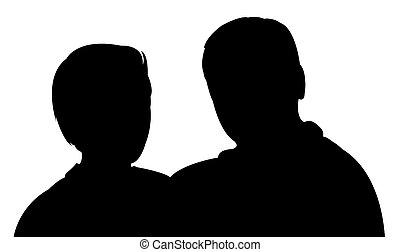 silhouette, van, een, paar