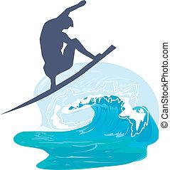 silhouette, van, een, persoon, surfing, in, de, zee