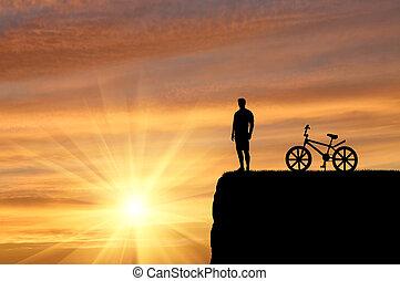 silhouette, van, een, reiziger, met, fiets