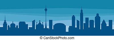 silhouette, van, een, stad