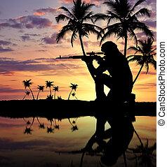 silhouette, van, een, terrorist, met, een, wapen