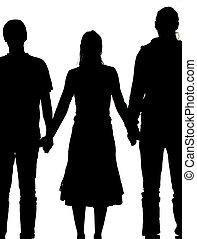silhouette, van, een, vrouw, en, twee mannen, holdingshanden