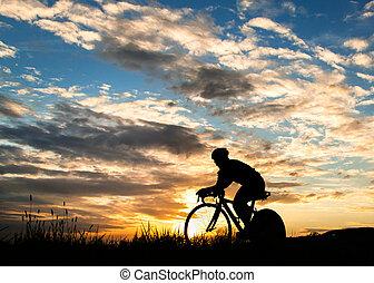 silhouette, van, fietser