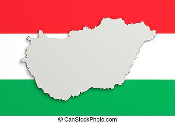 silhouette, van, hongarije, kaart, met, vlag