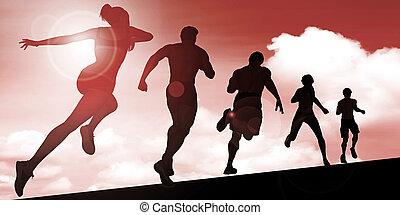 silhouette, van, joggers