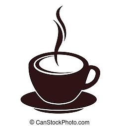 silhouette, van, koffiekop, met, stoom, op wit