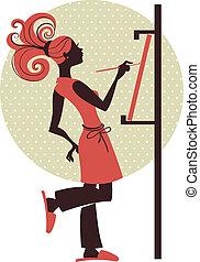 silhouette, van, kunstenaar, meisje