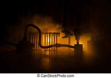 silhouette, van, macht, plant., industriebedrijven, concept., industrieel vuur, van, pijpen, op, night., versiering