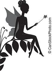 silhouette, van, magisch, elfje