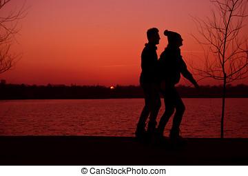 silhouette, van, man en vrouw, rennende