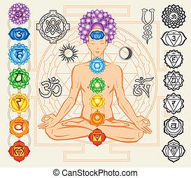 silhouette, van, man, met, chakras, en, esoterisch, symbolen