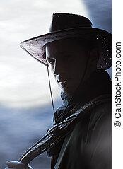 silhouette, van, mooi, cowboy