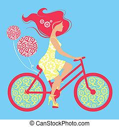 silhouette, van, mooi, meisje, op, fiets