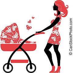 silhouette, van, mooi, moeder, met, kinderwagen