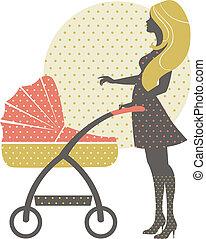 silhouette, van, mooi, moeder, met, kinderwagen, in, retro stijl