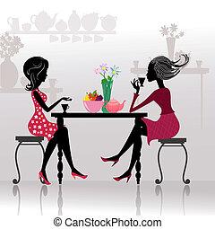 silhouette, van, mooie meisjes, in, koffie