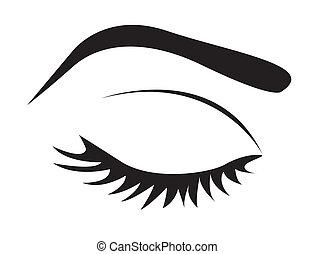 silhouette, van, oog wimperen, en, wenkbrauw