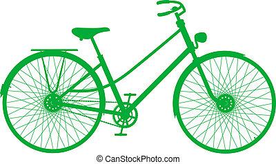 silhouette, van, ouderwetse , fiets