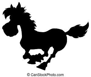 silhouette, van, paarde, rennende