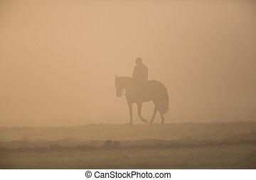 silhouette, van, passagier, met, paarde, in, de, morgen, stof