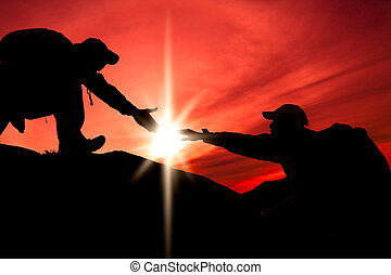 silhouette, van, portie hand, tussen, twee, klimmer