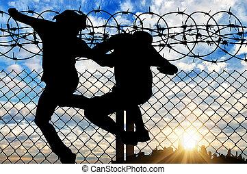 silhouette, van, refugees, kruising, de, omheining