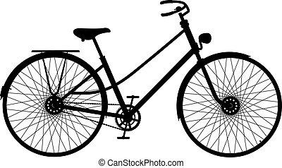 silhouette, van, retro, fiets
