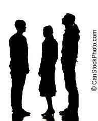 silhouette, van, twee mannen, en, een, vrouw