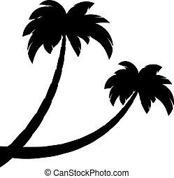 silhouette, van, twee, palmen