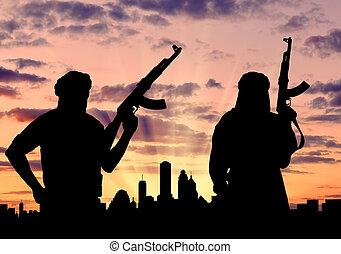 silhouette, van, twee, terroristen