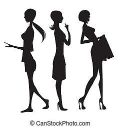 silhouette, van, vrouwen
