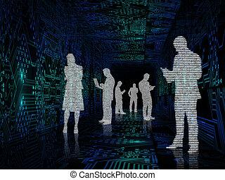 silhouette, van, zakenlui, ertussen, van, circuit plank