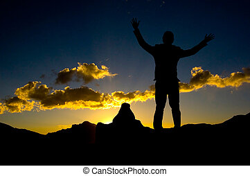 silhouette, van, zakenman status, op bovenkant, mountaint