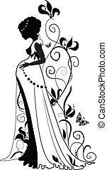 silhouette, van, zwangere vrouw