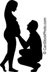silhouette, van, zwangere vrouw, met, vader